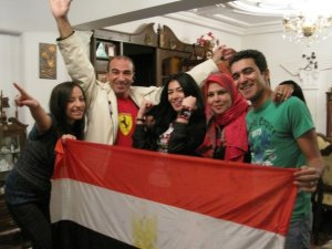 Mirhan Hussein photo with the egyptian flag to support football team of egypt during their match 2