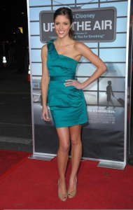 Kayla Ewell picture on the red carpet wearing a one shoulder green dress for the Up in the Air premiere in Westwood on November 30th 2009 3