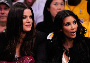 Kim Kardashian seen with her sister Khloe Kardashian at the season opening game at Staples Center on October 27th 2009 in Los Angeles