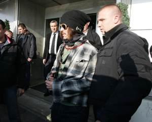Johnny Depp spotted arriving in Belgrade to attend a Serbian film festival on January 12th 2010 1