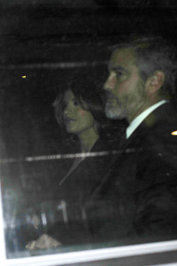 George Clooney and his girlfriend Elisabetta Canalis spotted leaving the Carlyle Hotel in New York on January 12th 2010 2