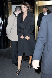 George Clooney and his girlfriend Elisabetta Canalis spotted leaving the Carlyle Hotel in New York on January 12th 2010 1