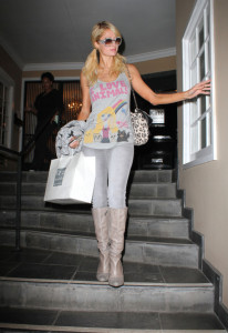 Paris Hilton spotted leaving Kate Somerville Skin Health Experts store in West Hollywood on January 13th 2010 wearing I Love Animals top 5
