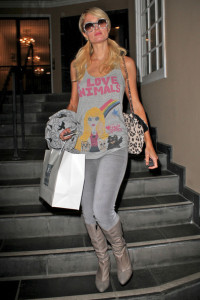 Paris Hilton spotted leaving Kate Somerville Skin Health Experts store in West Hollywood on January 13th 2010 wearing I Love Animals top 1