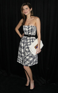 Lake Bell at the 9th Annual Diamond Fashion Show Preview at the Beverly Hills Hotel in California on January 14th 2010 wearing a black and white checkered dress 1