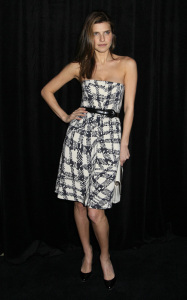 Lake Bell at the 9th Annual Diamond Fashion Show Preview at the Beverly Hills Hotel in California on January 14th 2010 wearing a black and white checkered dress 2