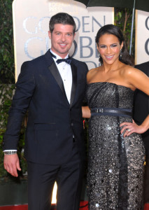 Robin Thicke and Paula Patton at the 67th Annual Golden Globe Awards held at The Beverly Hilton Hotel on January 17th 2010 in California