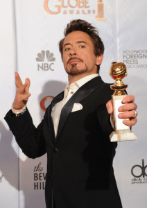 Robert Downey Jr with his award in the press room during the 67th Annual Golden Globe Award at The Beverly Hilton Hotel on January 17th 2010 in California 1