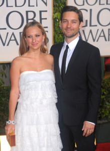 Tobey Maguire amd Meyer Maguire arrive at the 67th Annual Golden Globe Awards held at The Beverly Hilton Hotel on January 17th 2010 in California