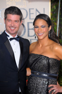 Paula Patton and Robin Thicke attend the 67th Annual Golden Globe Awards held at The Beverly Hilton Hotel on January 17th 2010 in California