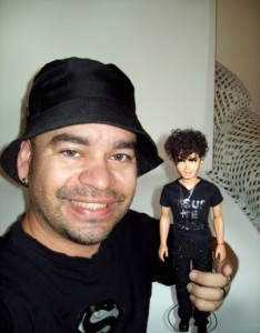 Jesus Luz Doll picture with the person who created it Baby Marcus