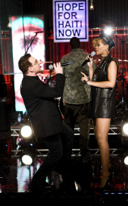 Rihanna with Bono perform at the Hope For Haiti Now telethon held on January 22nd 2010 in London