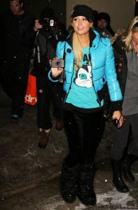 Paris Hilton spotted on January 23rd 2010 as she hangs out at night in Park City Utah 2