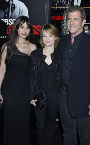 Jodie Foster along with Mel Gibson and Oksana Grigorieva at the Edge of Darkness premiere on January 26th 2010 at Graumans Chinese Theatre in Hollywood 3