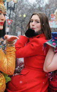 Anne Hathaway at Harvards Hasty Pudding Awards in Cambridge for her Hasty Pudding of the Year Award on January 28th 2010 wearing a stylish red coat 5