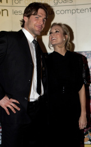 Carrie Underwood seen with her fiance Mike Fisher as they arrive at the annual Sens Soiree fundraiser at the Hilton Lac Leamy on January 25th 2010 in Gatineau Quebec 1