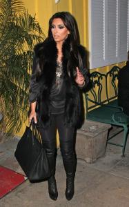 Kim Kardashian seen arriving at the Dan Tanas restaurant on January 27th 2010 wearing a fur black vest 7