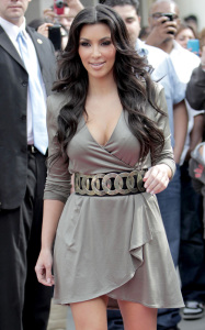Kim Kardashian arrives at ShoeDazzle on January 29th 2010 at the Westfield Century City Shopping Mall wearing a cute silver dress 11
