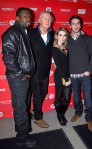 50 Cent with Chace Crawford and Emma Roberts attend the premiere of Twelve on January 29th 2010 at the Eccles Theatre during the Sundance Film Festival in Park City Utah 3