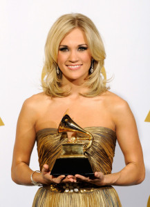 Carrie Underwood with her award in the press room during the 52nd Annual GRAMMY Awards held at Staples Center on January 31st 2010 6