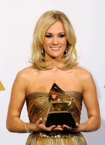 Carrie Underwood with her award in the press room during the 52nd Annual GRAMMY Awards held at Staples Center on January 31st 2010 3