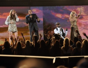 Carrie Underwood performs onstage with Celine Dion and Usher during the 52nd Annual GRAMMY Awards held at Staples Center on January 31st 2010 in Los Angeles California 2
