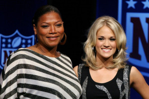 Queen Latifah and Carrie Underwood during the Pregame Show and National Anthem Press Conference held at the Fort Lauderdale Convention Center on February 4th 2010 in Fort Lauderdale Florida 7