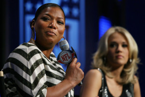 Queen Latifah and Carrie Underwood during the Pregame Show and National Anthem Press Conference held at the Fort Lauderdale Convention Center on February 4th 2010 in Fort Lauderdale Florida 3