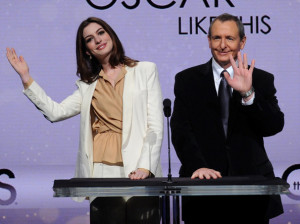 Anne Hathaway and Tom Sherak speak at the 82nd Academy Awards nominations announcement held at the Samuel Goldwyn Theater on February 2nd 2010 in Beverly Hills 7