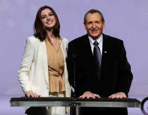 Anne Hathaway and Tom Sherak speak at the 82nd Academy Awards nominations announcement held at the Samuel Goldwyn Theater on February 2nd 2010 in Beverly Hills 3