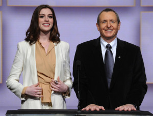 Anne Hathaway and Tom Sherak speak at the 82nd Academy Awards nominations announcement held at the Samuel Goldwyn Theater on February 2nd 2010 in Beverly Hills 6