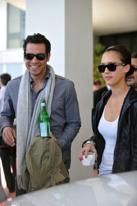 Jessica Alba and her husband Cash Warren seen together as they left their South Beach hotel to attends the Super Bowl XLIV on February 7th 2010 at the Sun Life Stadium in Miami Gardens Florida 2