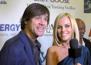 Jim Carrey and Jenny McCarthy together hosting the 4th annual Saturday Night Spectacular celebration on February 6th 2010 at The Bank of America Tower in Miami 2