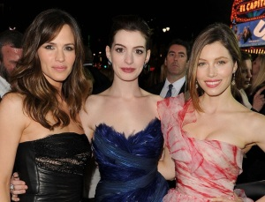 Ann Hathaway with Jennifer Garner and Jessica Biel at the premiere of Valentines Day movie held on February 8th 2010 at Graumans Chinese Theatre in Hollywood 2