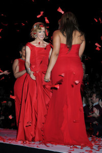 Felicity Huffman walks the runway of the Heart Truth Red Dress Collection Fall 2010 during the Mercedes Benz Fashion Week at Bryant Park on February 11th 2010 in New York City 2