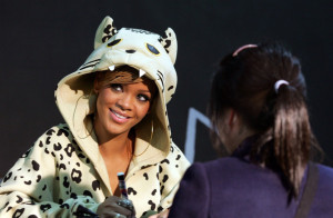 Rihanna attends a fan meeting event at the Coexmall on February 11th 2010 in Seoul South Korea to promote the Rated R album 4