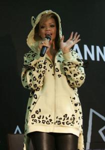 Rihanna attends a fan meeting event at the Coexmall on February 11th 2010 in Seoul South Korea to promote the Rated R album 7
