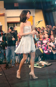 Selena Gomez picture while interviewed on Good Morning America on February 11th 2010 wearing a cute silver dress 5