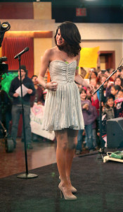 Selena Gomez picture while interviewed on Good Morning America on February 11th 2010 wearing a cute silver dress 6