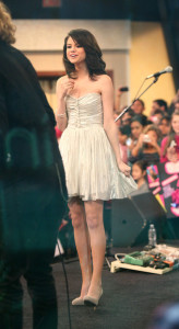 Selena Gomez picture while interviewed on Good Morning America on February 11th 2010 wearing a cute silver dress 3