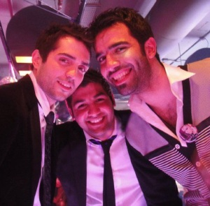 Lara Scandar Mission is You celebration party guest picture of Mohamad Bash with Mohamad Serag and Ibrahim Dashti together on February 4th 2010 in Cairo Egypt