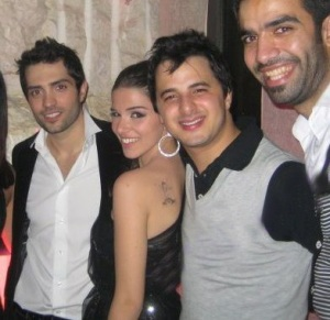 Lara Scandar together with Mohamad Bash Mohamed Serag and Nader Quirat at her private party celebrating the release of her first CD on February 4th 2010 in Cairo Egypt