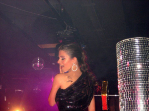 Lara Scandar photo wearing a glam black dress at her private party celebrating the release of her first CD on February 4th 2010 in Cairo Egypt 3