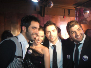 Lara Scandar together with Mohamad Bash Mohamed Serag and Ibrahim Dashti at her private party celebrating the release of her first CD on February 4th 2010 in Cairo Egypt