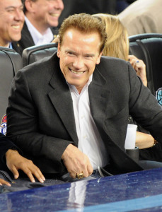 Arnold Schwarzenegger at the NBA All Star Game held at Cowboys Stadium on February 14th 2010 in Arlington Texas 1