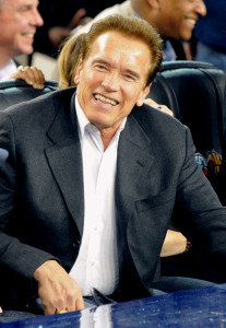 Arnold Schwarzenegger at the NBA All Star Game held at Cowboys Stadium on February 14th 2010 in Arlington Texas 3