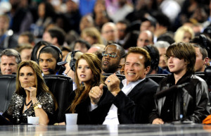 Arnold Schwarzenegger at the NBA All Star Game held at Cowboys Stadium on February 14th 2010 in Arlington Texas 2