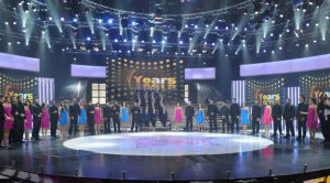 Star Academy season seven first prime picture of Hilda Khalifeh with the new students on stage
