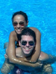 Star Academy seven student Jack Haddad with his girlfriend swimming