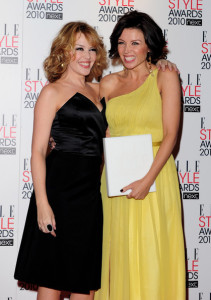 Kylie Minogue with her sister Dannii Minogue at the The ELLE Style Awards 2010 at the Grand Connaught Rooms on February 22nd 2010 in London England 7